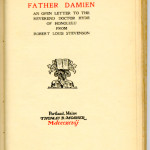 "Reprints from The Bibelot Series (1897-1902) - R.L. Stevenson's ""Father Damien."" Title page."