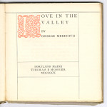 "Golden Text Series (1908-1911) - George Meredith's ""Love in the Valley."" Title page."