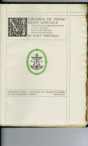 """Miscellaneous Series (1895-1923) - """"Memories of President Lincoln"""" by Walt Whitman. Title page."""