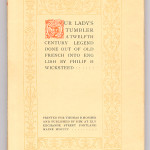 """Miscellaneous Series (1895-1923) - Wicksteed, trans. """"Our Lady's Tumbler"""" with Chiswick border design. Cover."""