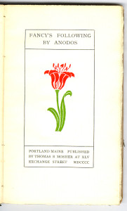 """Reprints of Privately Printed Books Series (1897-1902) - Mary E. Coleridge's """"Fancy's Following"""" by Anodos [pseud.]. Title page."""