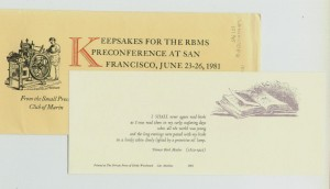 Keepsakes for the RBMS Preconference at San Francisco, June 23-26, 1981