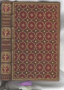 """Unattributed full leather binding of """"Uncollected Essays"""" by Walter Pater."""