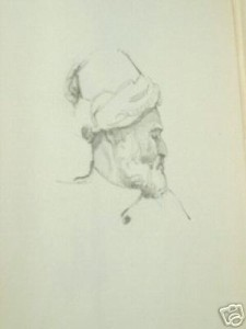 Illuminated copy of the Old World Kasidah (1923) with several skilled drawings depicting some of the followers of Allah. (Sample 1)